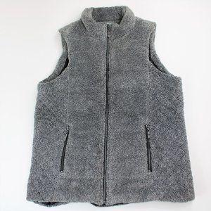 Lemon Tart Skyros Textured Gray Fleece Vest Large